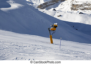 Ski slope with snowmaking. Greater Caucasus, Mount Shahdagh....