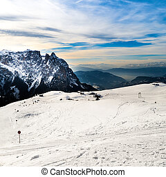 Ski slopes on the Italian Alps.
