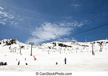 Ski slopes - Snowed Mountains in the Pyrenees, and ski...