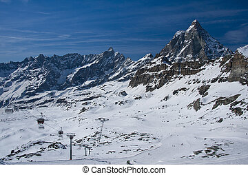 ski slopes under the Matterhorn - view from the Plateau Rosa...