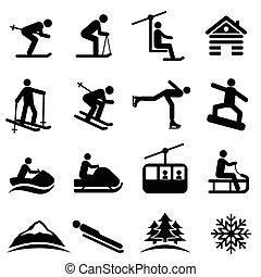 ski, sneeuw, en, winter, iconen