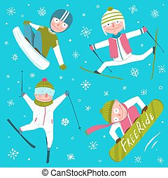 Ski Snowboard Snowflakes Winter Sport Funny Cartoon...