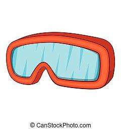 Ski sport goggles icon, cartoon style
