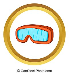 Ski sport goggles icon in golden circle, cartoon style...