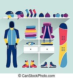 Ski sport store. Winter activities boutique indoor. Flat ...