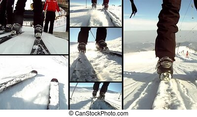 Ski time, collage - Skiers spectacular pov