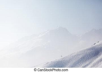 ski traces on snow