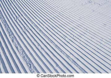 Ski track in snow