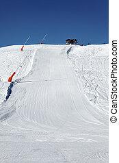 ski track on alpine mountain in France