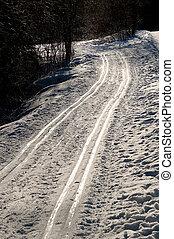 Ski Tracks - Two glittering ski tracks leading into...