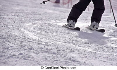 Ski Turn - Slow Motion at a rate of 480 fps. Skiing close-up