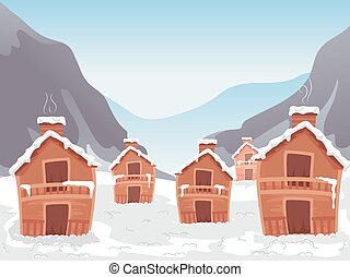Ski Village - Illustration Featuring a Ski Village