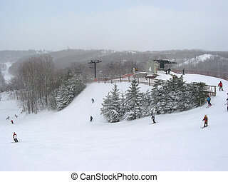 Ski winter sport - View from the top of a hill at Horseshoe...