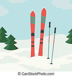 Ski with ski poles