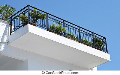 Skiathos Greek Island House Facade with Terrace