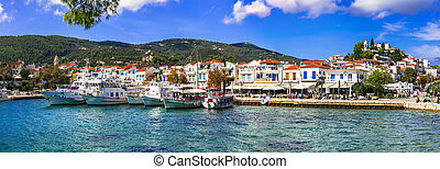 picturesque Skiathos island - view of Chora town and old port. Sporades, Greece
