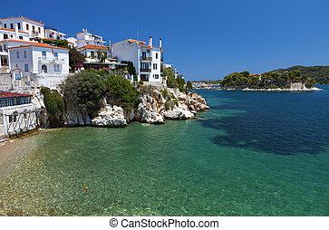 Skiathos island in Greece. View of Plakes area.