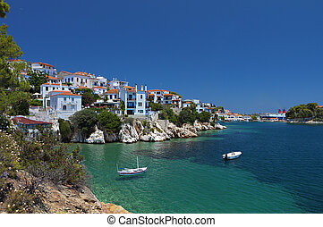 Skiathos island in Greece. View of Plakes area.