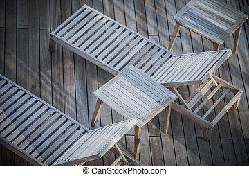 skib cruise, closeup, deckchairs