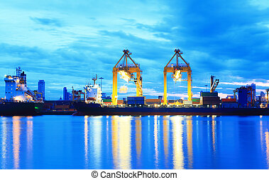 skib, last, havn