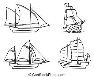 skib, sæt, symbol, samling
