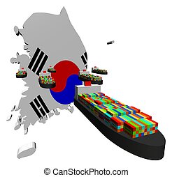 skibe, eksporter, beholder, korean, syd