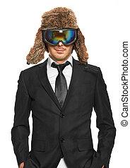 skibrille, schwarzer mann, klage