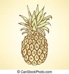 skica, chutný, ananas, do, vinobraní, móda
