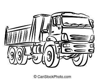 skica, o, těžkopádný, vysypat, truck.