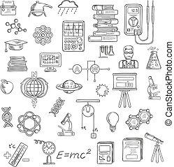 skica, věda, astronomie, fyzika, chemie