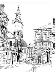 skica, vektor, ilustrace, o, lviv, historický building