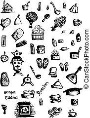skicc, állhatatos, ikonok, tervezés, orosz, szauna, -e
