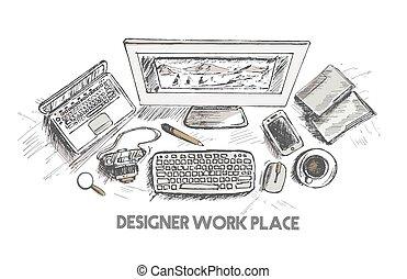 skicc, ügy, dolgozó, fogalom, ábra, kéz, íróasztal, húzott