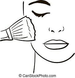 skicc, arc, makeup., tervezés, női, -e