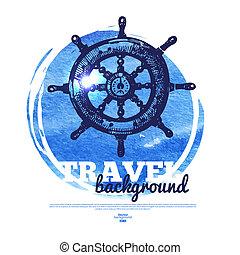 skicc, banner., szüret, utazás, ábra, kéz, vízfestmény, tenger, tengeri, húzott, design.