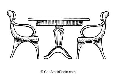 skicc, elnökké választ, két, ábra, vektor, asztal., style.