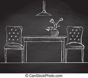 skicc, elnökké választ, két, ábra, vektor, chalkboard., asztal, style.