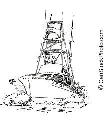skicc, halászhajó, part felől
