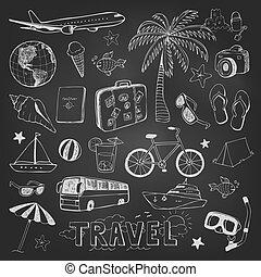skicc, ikonok, utazás, fekete, chalkboard, doodles