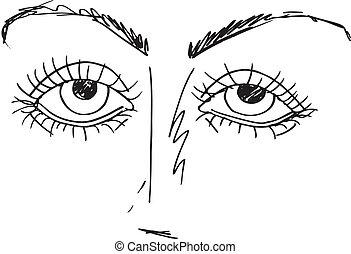 skicc, körvonalazott, ábra, vektor, eyes., karikatúra