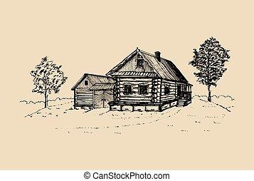 skicc, poster., illustration., paraszt, vidéki táj, épület, kéz, vidéki, vektor, falu, orosz, húzott, táj