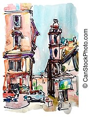 skicc, szárazföld, olaszország, vízfestmény, róma, freehand...