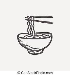 skicc, tál, kínai evőpálcikák, pár, metélt tészta, ikon