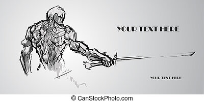 skicc, text., ábra, vektor, warrior., állás, -e
