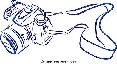 skicc, vektor, dslr, szabad, kéz, fényképezőgép