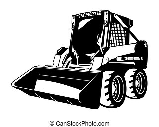 skid loader - A small skid loader. black and white...