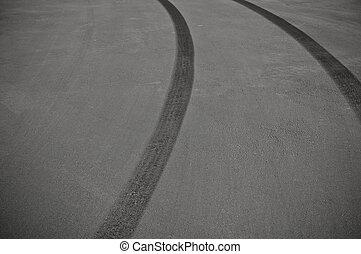 skid, pneu, marcas