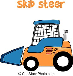 Skid steer cartoon vector art