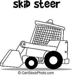 Skid steer for industry cartoon design