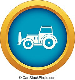 Skid steer loader icon blue vector isolated